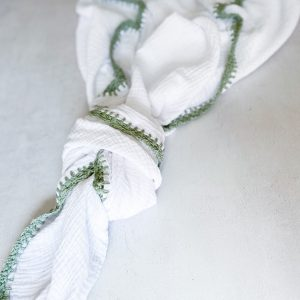 Muslin Swaddle Blanket with Crochet Edging