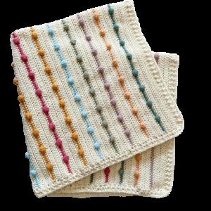 Stripe  Puff Crochet Baby Blanket