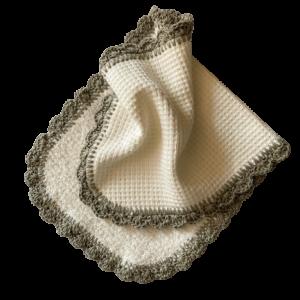 Crochet Edge Waffle Weave Burp Cloth